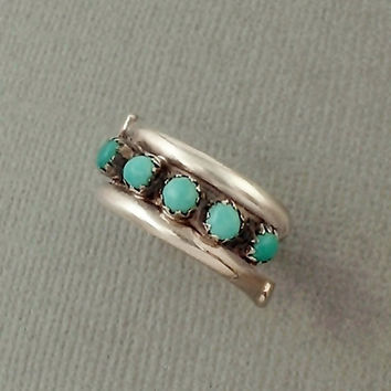 Vintage NATIVE American Turquoise RING Petit Point Snake Eye Wrap STERLING Silver Band Size 7 c.1970's, Gift for Her