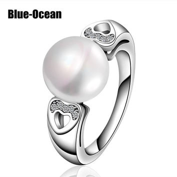 925 Sterling Silver Pearl Jewelry Rings Cocktail Fashion Valentines Day Gifts