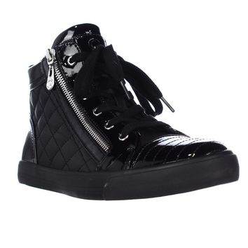 G by GUESS Orily Side Zip Quilted High Top Fashion Sneakers, Black, 5 US