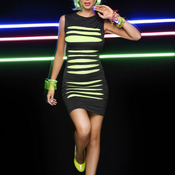 Sexy New Slashed Neon Mini Dress