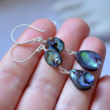 NEW Abalone Earrings, Dangle Earrings, Paua Shell, Wire Wrapped, Sterling Silver Jewelry