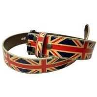 "British Flag Union Jack DISTRESSED LEATHER BELT Medium (34-36"")"