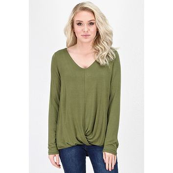 Twisted Hem Long Sleeve Bamboo Basic {Olive}