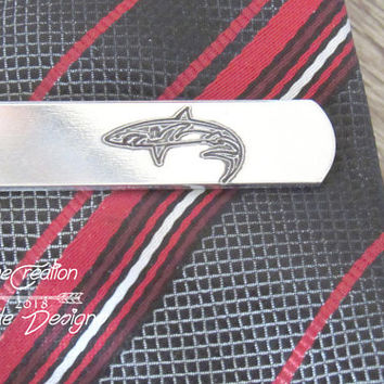 Groom Tie Clip Gift, Personalized Tie Clip for Groom, Gift for Fiance Man, Tie Bar Geek Gift, Shark Gifts for Men, Shark Tie Clip