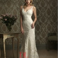 Lace V-Neck Mermaid Sleeveless Wedding Dress with Chapel Train AB8856