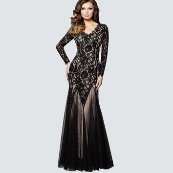 9f28c21f167b New Design Fit and Flare Floral Lace Sleeve Long Maxi Dresses Wo