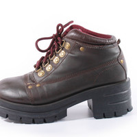 90s Vintage Brown Platform Boots Lace Up Chunky Hiking Combat Vegan Leather Ankle Hipster Shoes Womens Size US 7.5 UK 5.5 EUR 38