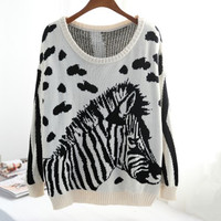ZEBRA ANIMAL PRINT SWEATER