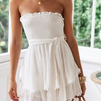 Summer New Fashion Solid Color Strapless Dress Women White