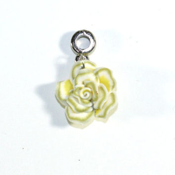 Yellow, and White Small Clay Rose Flower Pendant Bead on Bail - Jewelry Supplies - Jewelry Making