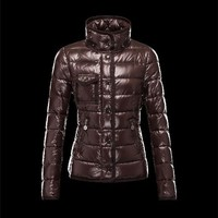 Moncler Armoise classic Detachable Fur Trimmed Dark brown Jackets Lacquered Nylon Wome
