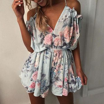 Rompers Womens Jumpsuit 2017 Hot Sale Summer V-Neck Bodysuit Casual White Lace Floral Elegant Jumpsuits Rompers Plus Size S-XL