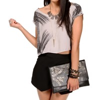 Gray Boatneck Tie Dye Crop Top