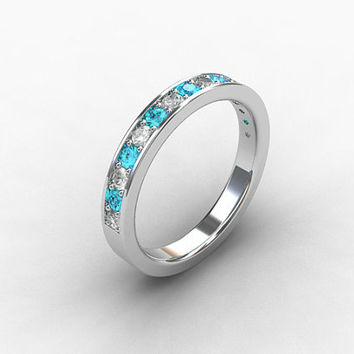 Aquamarine ring, White sapphire, palladium, aquamarine wedding band, eternity ring, Blue wedding, sapphire