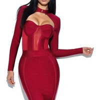 High Neck Bustier Long Sleeve Bandage Dress