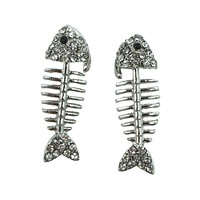 Fishbone Fish Bone Fish Skeleton Studded Earrings