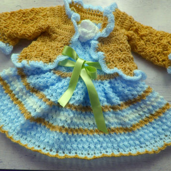 Take home baby girl outfit Knit baby dress, Blue and gold baby clothing, Newborn dress, infant frock, crochet bolero, blue baby outfit