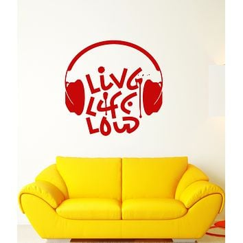 Vinyl Wall Decal Live Music Loud Musical Quote Headphones Words Stickers (3209ig)