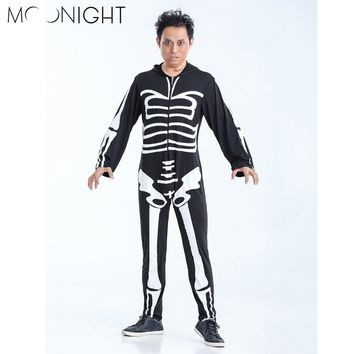 MOONIGHT Skeleton Skull Jumpsuits Costumes Scary Halloween Costumes for Adults Men Terror Party Carnival Masquerade Roleplay