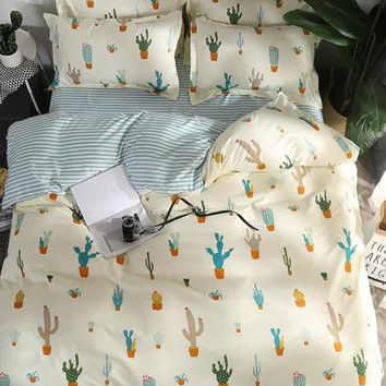 Cactus & Striped Print Sheet Set -SheIn(Sheinside)
