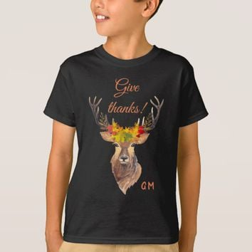 Charm Fall Deer Head Give Thanks Typography T-Shirt