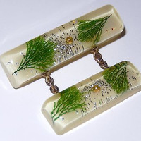Embedded Lucite Bar Pin Double Brooch Green Pine Tree Needles VTG Mid Century