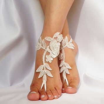 bridal anklet, ivory Beach wedding barefoot sandals, bangle, wedding anklet, free ship, anklet, bridal, wedding