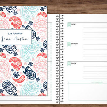 2016 2017 planner custom planner student planner HORIZONTAL LAYOUT weekly monthly calendar agenda daytimer / navy blue pink paisley pattern