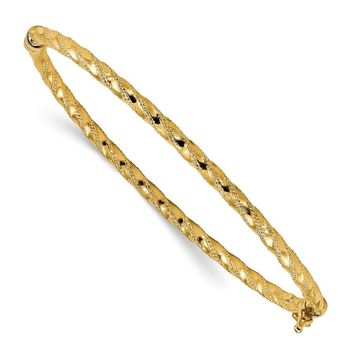 14k Solid Gold Polished Textured Hinged Bangle Bracelet