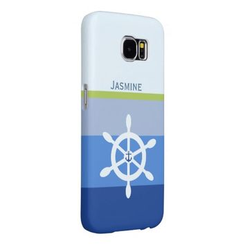 Blue nautical stripes ships wheel personalize name samsung galaxy s6 case