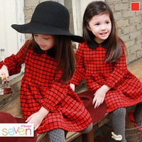 retail 2016 new next girls clothes  College Girls Cotton Doll Collar Long-sleeved Plaid Dress Children Kids Clothing Red