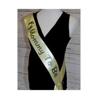 Mommy to Be Sash - Baby Shower Party Sash for mom to Be to wear Satin Personalized Ribbon with Custom Wording in Variety of Colors