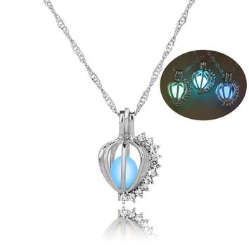 Glow in the Dark Jewelry with Silver Plated Pumpkin  Shaped Luminous Stone Choker Long Pendant Necklace for Men Women Gift