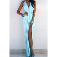 Plunging Neck, High Slit Maxi Dress