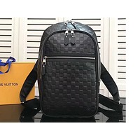 LV Fashion Backpack with Black Checker and Double Zippers for Men and Women High-quality