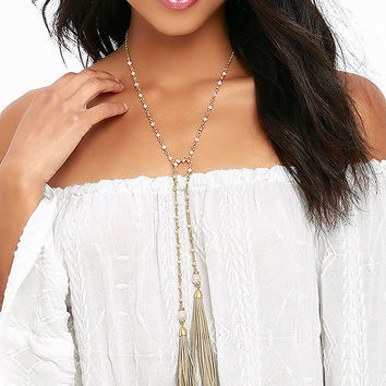 Gimme Gimme Gold Tassel Wrap Necklace