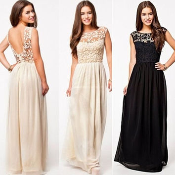 Women's Elegant Backless Bridesmaids Dresses Hollow Out Lace Long Maxi Evening Dress = 5739423809