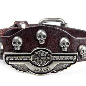 Brand New 2017! This is a one of a Kind Harley Davidson  Skull Branded Men  / women biker Bracelet; Custom Designed Genuine Cured Leather! This Unique and Authentic Harley Design