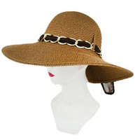 GOLD BIG CHAIN ACCENT AND CHIFFON BOW SUNNY HAT.