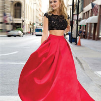 Hot Selling long Two Pieces Prom dresses 2016 Vestidos De Festa Sexy Black Lace Cap Sleeves black Custom Made Red Party Dress
