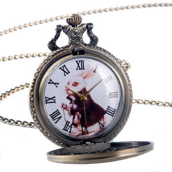 Vintage Bronze Rabbit Dial Alice in Wonderland Case Copper Quartz Pocket Watch Men Women Cute Pendant Necklace Chain Gift