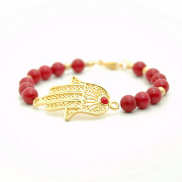 Gold Plated Hand of Fatima, Hamsa Hand Guardian Bracelet with Red Coral Beads , Beaded Bracelet