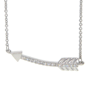 Dear Deer White Gold Plated Pave CZ Love Arrow Pendant Necklace