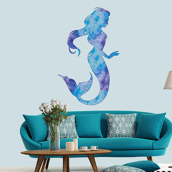 cik1854 Full Color Wall decal Watercolor Mermaid siren children's room living room