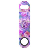 Girly Kitten Cat Romantic Floral Pink Nebula Space Speed Bottle Opener