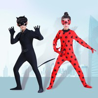 miraculous ladybug cat noir cosplay costume girls kids adult with wig boys children halloween party marinette lady bug costumes