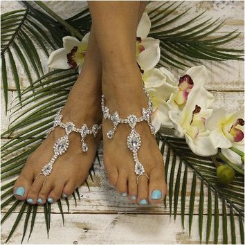 IMPERFECT wedding barefoot sandals - silver