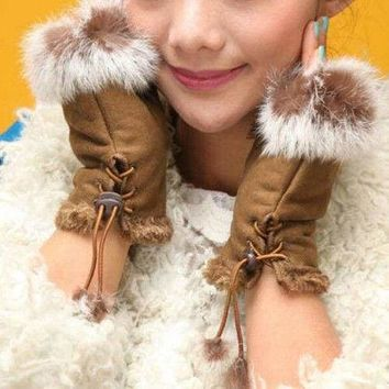 Women's Faux Rabbit Fur Faux Leather Fingerless Mittens Wrist Gloves US Stock