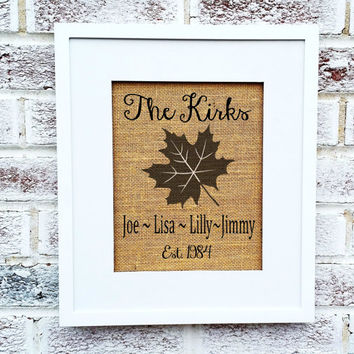 Fall Welcome Sign, Maple Leaf w family name names establish date, burlap print, burlap art, cabin decor lake house, new home gift