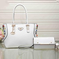 PRADA Fashion Women Metal Logo Leather Satchel Tote Handbag Crossbody Set Two-Piece White I-XS-PJ-BB